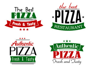 Pizzeria and restaurant banners or emblems