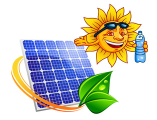 Solar panel with cartoon sun and bottle