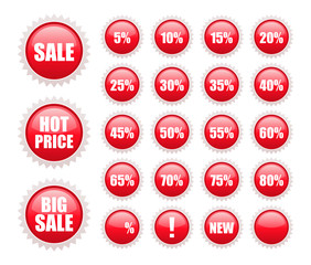 red sale labels collection