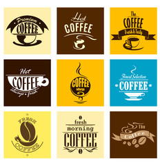 Simple coffee banners with steaming cups