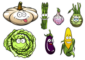 Cartooned pumpkin, asparagus, garlic, kohlrabi, cabbage, eggplan
