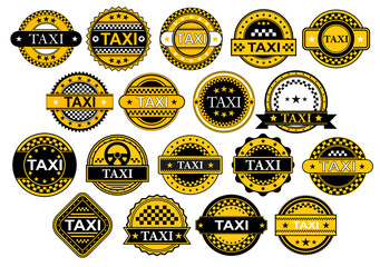 Taxi labels and banners set