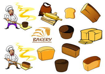 Cartoon bakery objects and baker
