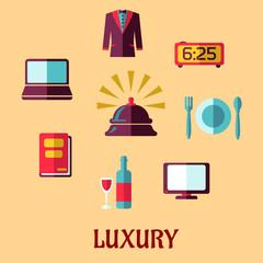 Luxury hotel service flat icons