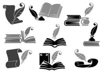 Books with quill feathers icon set