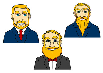 Seniors and aged men in cartoon style