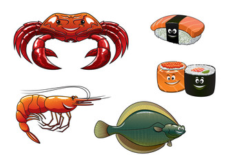 Cartoon animals and seafood characters