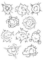 Comics explosion clouds and bubbles set