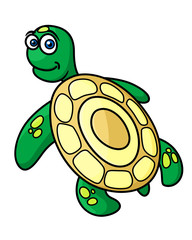 Cartoon green sea turtle character