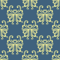 Yellow pansy floral seamless pattern