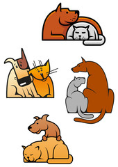 Cartoon friending cat and dog pets