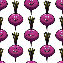 Seamless smiling cartoon beet background