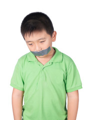 ฺฺBoy with wrapping adhesive tape around mouth, rights of child