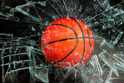 Leinwandbild Motiv Basketball through glass.