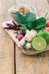Ingrédients pour la Tom yum gong, soupe Thailandaise