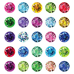 Set of 25 icons colored gemstones