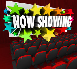 Now Showing Words Movie Screen Attend Viewing Event Webinar Audi