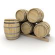 Group of wine barrels