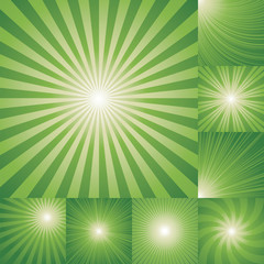 collection of green color burst background.