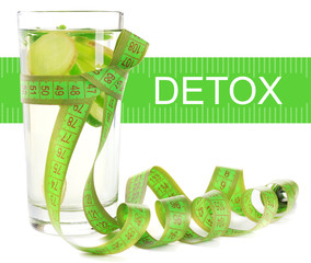 Glass of cucumber drink isolated on white, Detox concept