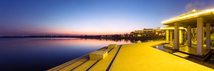beautiful sunset at the lakeside close to  holiday resort