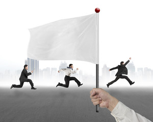 man hand holding flag with businessmen running and cityscrape ba