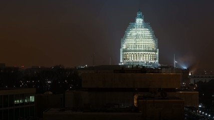 Time lapse of the United States Capitol building at night
