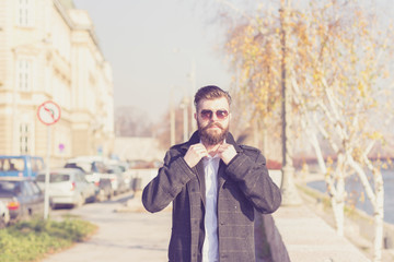 Fashionable Hipster style bearded man