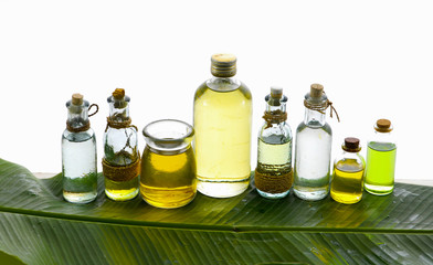 health spa with many massage oil banana leaf texture