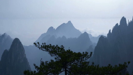 The cloud and the pine in the wind, Yellow Mountain, China