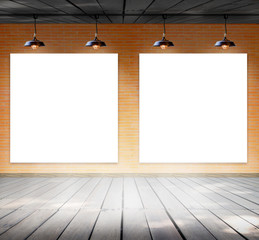 Blank frame on brick wall and wood floor for information message