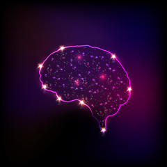 Abstract light human brain, easy editable