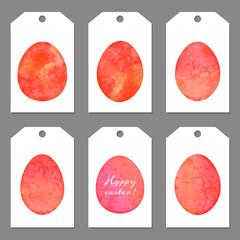 Set of tags for Easter. Watercolor silhouettes eggs.