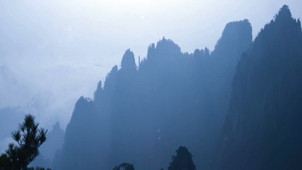 The outline of the summit of Yellow Mountain,  China