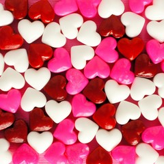 Valentines Day background of pink white and red candies