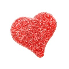 Red heart shaped gummy Valentines Day candy isolated