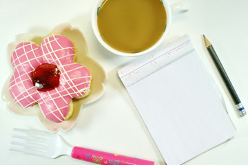 Donut Coffee and Notepad