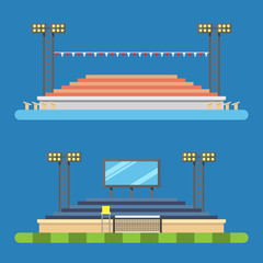 Flat design of sport stadium