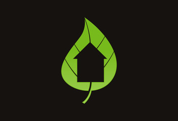Leaf home ecology logo vector