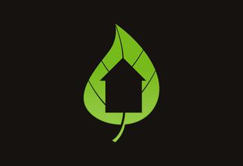 Leaf home ecology logo vector
