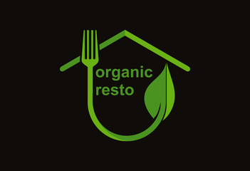 Organic resto food logo vector