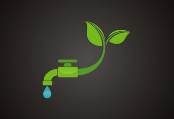 Faucet green leaf ecology logo vector