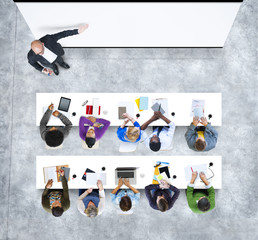 Aerial View People Learning Studying Training Education Concept