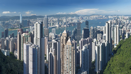 View of Victoria harbor from the peak at Hong Kong