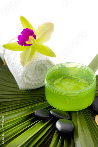 Poster Spa Tropical spa setting and palm