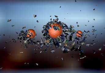 exploding sphere abstract 3d shpaes