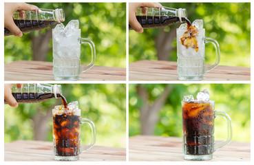ice coffee into a glass.