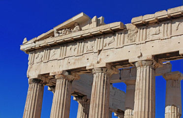 Part of ancient Parthenon at the Acropolis, Athens, Greece