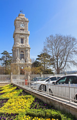 Clocktower of Dolmabahce Palace in Istanbul, Turkey