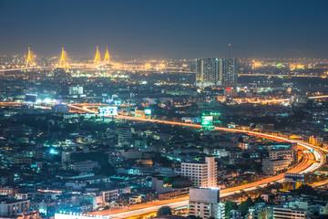 Bangkok night cityscape, Thailand.